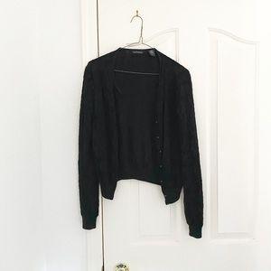 Moda International Black Lace Button Up Cardigan